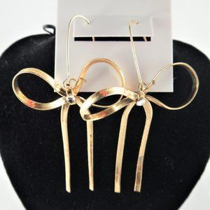 Betsey Johnson Gold Drop Bow w/ Crystal Earrings